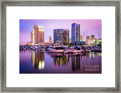 San Diego At Night With Marina Yachts Framed Print