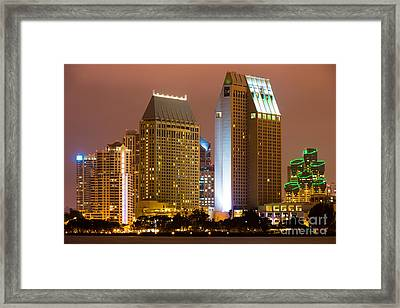 San Diego City At Night Framed Print by Paul Velgos