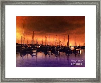 Framed Print featuring the digital art San Diego Harbor Midnight Moon by Rhonda Strickland
