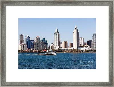 San Diego Skyline And Tour Boat Framed Print by Paul Velgos