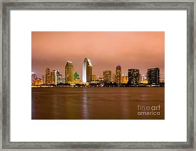 San Diego Skyline At Night Framed Print by Paul Velgos