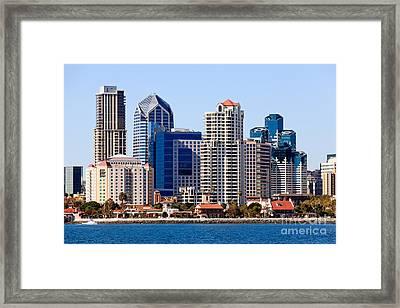 San Diego Skyline Photo Framed Print by Paul Velgos
