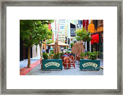 San Francisco - Maiden Lane - Outdoor Lunch At Mocca Cafe - 5d17932 - Painterly Framed Print