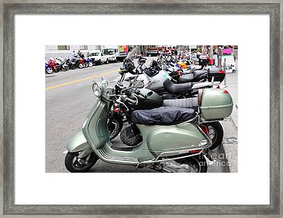 San Francisco - Scooters And Motorcycles Along Sansome Street - 5d17654 Framed Print by Wingsdomain Art and Photography