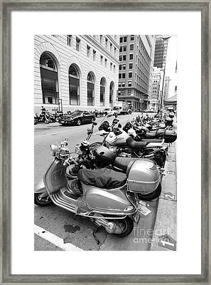 San Francisco - Scooters And Motorcycles Along Sansome Street - 5d17657 - Black And White Framed Print by Wingsdomain Art and Photography