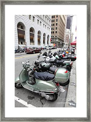 San Francisco - Scooters And Motorcycles Along Sansome Street - 5d17657 Framed Print by Wingsdomain Art and Photography