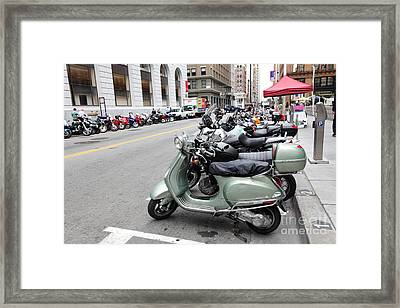 San Francisco - Scooters And Motorcycles Along Sansome Street - 5d17855 Framed Print by Wingsdomain Art and Photography