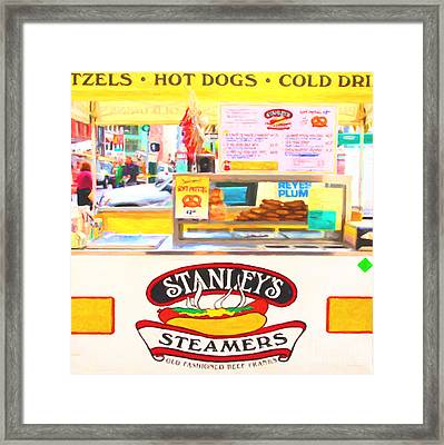 San Francisco - Stanley's Steamers Hot Dog Stand - 5d17929 - Square - Painterly Framed Print by Wingsdomain Art and Photography