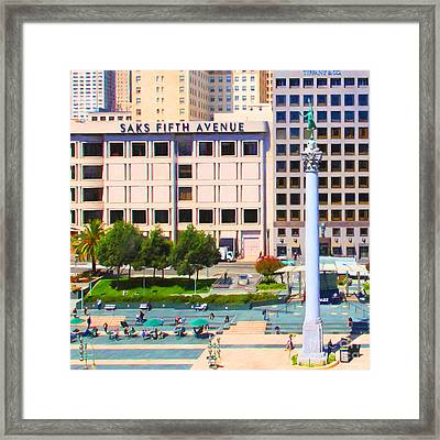 San Francisco - Union Square - 5d17938 - Square - Painterly Framed Print