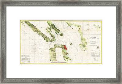 San Francisco Bay Survey Framed Print by Pg Reproductions
