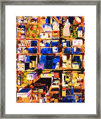 San Francisco Birdseye Abstract . Painterly Framed Print by Wingsdomain Art and Photography