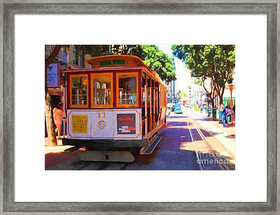 San Francisco Cable Car At The Powell Street Cable Car Turnaround - 5d17962 - Painterly Framed Print by Wingsdomain Art and Photography