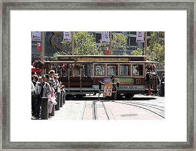 San Francisco Cable Car At The Powell Street Cable Car Turnaround - 5d17968 Framed Print by Wingsdomain Art and Photography