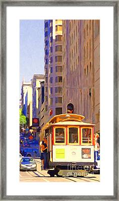San Francisco Cable Car Coming Down Powell Street Framed Print by Wingsdomain Art and Photography