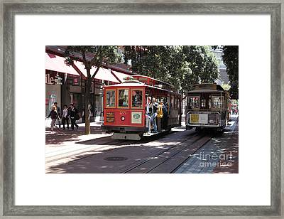 San Francisco Cable Cars At The Powell Street Cable Car Turnaround - 5d17959 Framed Print by Wingsdomain Art and Photography