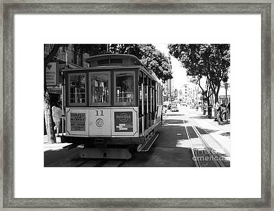 San Francisco Cable Cars At The Powell Street Cable Car Turnaround - 5d17962 - Black And White Framed Print by Wingsdomain Art and Photography
