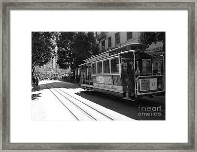 San Francisco Cable Cars At The Powell Street Cable Car Turnaround - 5d17963 - Black And White Framed Print by Wingsdomain Art and Photography