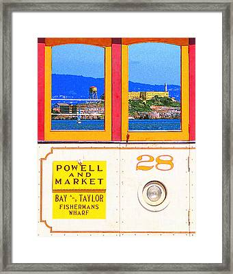 San Francisco Cablecar 28 . Alcatraz Framed Print by Wingsdomain Art and Photography