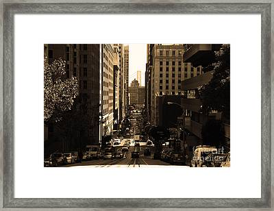 San Francisco California Street . Sepia . 7d7186 Framed Print by Wingsdomain Art and Photography