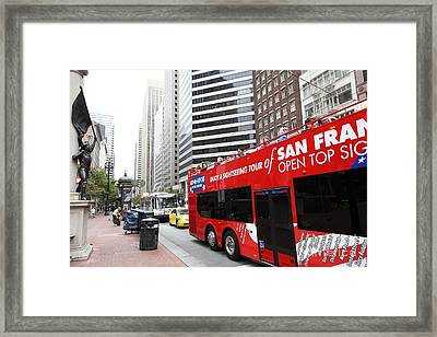 San Francisco Double Decker Tour Bus On Market Street - 5d17844 Framed Print by Wingsdomain Art and Photography