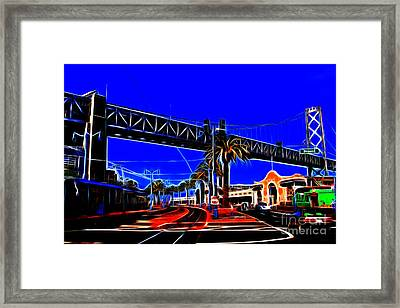 San Francisco Embarcadero And The Bay Bridge Electrified Framed Print