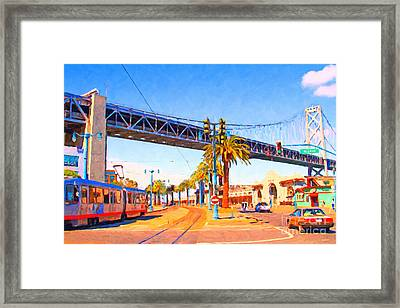 San Francisco Embarcadero And The Bay Bridge Framed Print by Wingsdomain Art and Photography