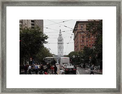 San Francisco Ferry Building At End Of Market Street - 5d17865 Framed Print by Wingsdomain Art and Photography
