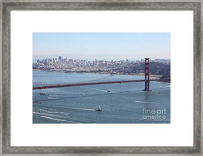 San Francisco Golden Gate Bridge And Skyline Viewed From Hawk Hill In Marin - 5d19605 Framed Print by Wingsdomain Art and Photography