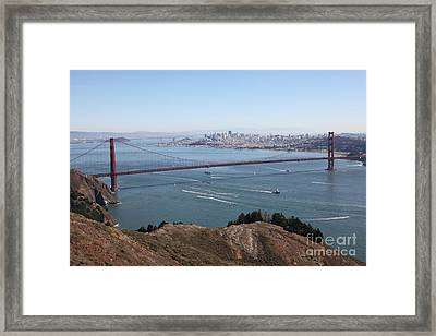San Francisco Golden Gate Bridge And Skyline Viewed From Hawk Hill In Marin - 5d19606 Framed Print by Wingsdomain Art and Photography