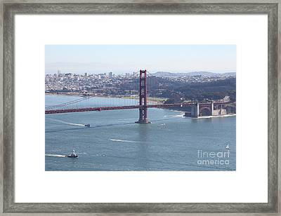 San Francisco Golden Gate Bridge And Skyline Viewed From Hawk Hill In Marin - 5d19607 Framed Print by Wingsdomain Art and Photography
