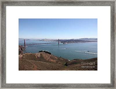 San Francisco Golden Gate Bridge And Skyline Viewed From Hawk Hill In Marin - 5d19614 Framed Print by Wingsdomain Art and Photography
