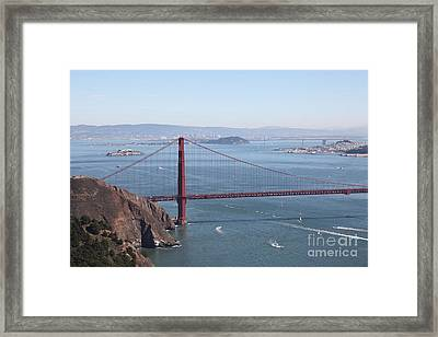San Francisco Golden Gate Bridge And Skyline Viewed From Hawk Hill In Marin - 5d19628 Framed Print by Wingsdomain Art and Photography