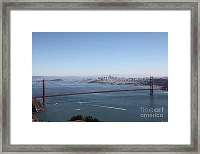 San Francisco Golden Gate Bridge And Skyline Viewed From Hawk Hill In Marin - 5d19629 Framed Print by Wingsdomain Art and Photography