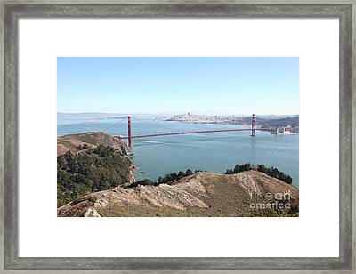 San Francisco Golden Gate Bridge And Skyline Viewed From Hawk Hill In Marin - 5d19637 Framed Print by Wingsdomain Art and Photography