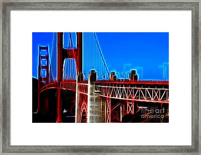 San Francisco Golden Gate Bridge Electrified Framed Print by Wingsdomain Art and Photography