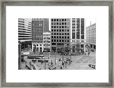 San Francisco Market Street - 5d17877 - Black And White Framed Print by Wingsdomain Art and Photography