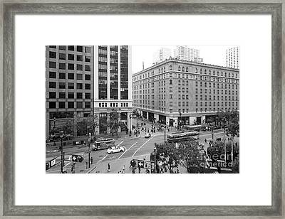 San Francisco Market Street - 5d17883 - Black And White Framed Print by Wingsdomain Art and Photography