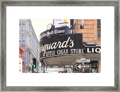 San Francisco Marquard's Little Cigar Store On Powell And O'farrell Streets - 5d17954 - Painterly Framed Print by Wingsdomain Art and Photography