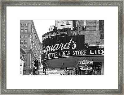 San Francisco Marquard's Little Cigar Store Powell And O'farrell Streets - 5d17954 - Black And White Framed Print by Wingsdomain Art and Photography