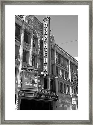 San Francisco Orpheum Theatre - 5d18007 - Black And White Framed Print