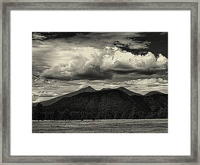 San Francisco Peaks In Black And White Framed Print by Joshua House