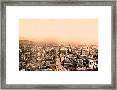 San Francisco Skyline 1909 . Ferry Building And Alcatraz Framed Print by Wingsdomain Art and Photography