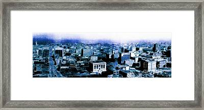 San Francisco Skyline Panorama 1909 From The Ferry Building Through South Of Market . Blue Framed Print by Wingsdomain Art and Photography