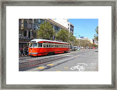 San Francisco Streetcar At The Orpheum Theatre - 5d17998 - Painterly Framed Print
