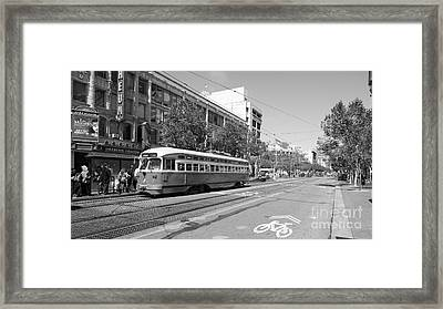 San Francisco Streetcar At The Orpheum Theatre - 5d18000 - Black And White Framed Print
