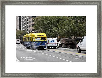 San Francisco Vintage Streetcar On Market Street - 5d17849 Framed Print by Wingsdomain Art and Photography