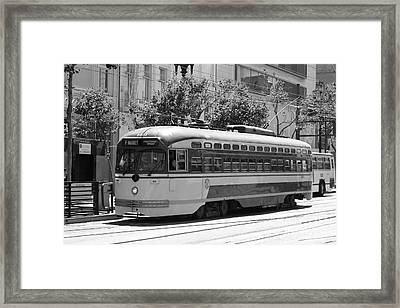 San Francisco Vintage Streetcar On Market Street - 5d17972 - Black And White Framed Print by Wingsdomain Art and Photography