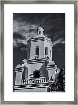 Framed Print featuring the photograph San Xavier Tower by Tom Singleton