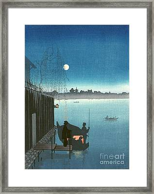 Sanbashi Bridge At Night Framed Print by Padre Art