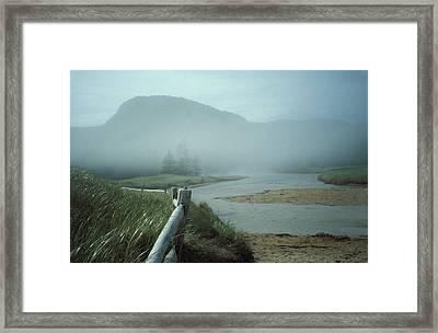 Sand Beach Fog Framed Print